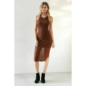 Sparkle & Fade Brown Ribbed Racerback Midi Dress